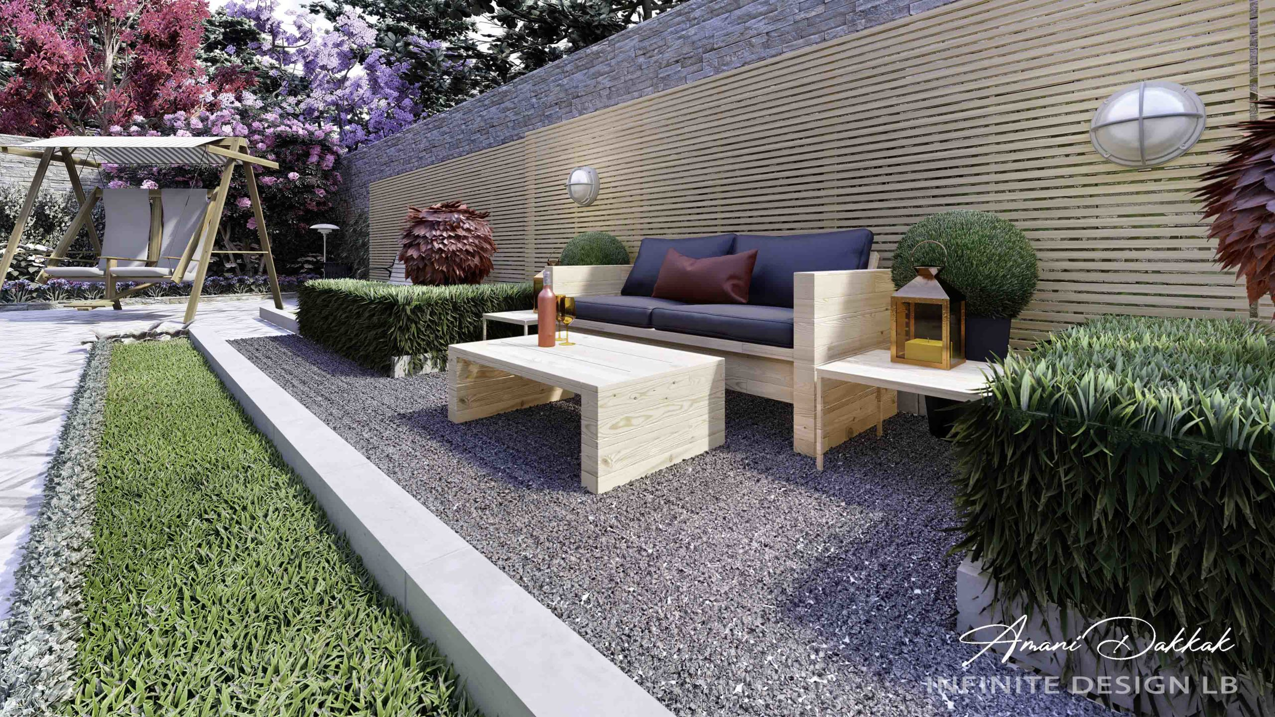 Mountain Villa Back Garden Exterior Design | By Amani Dakkak
