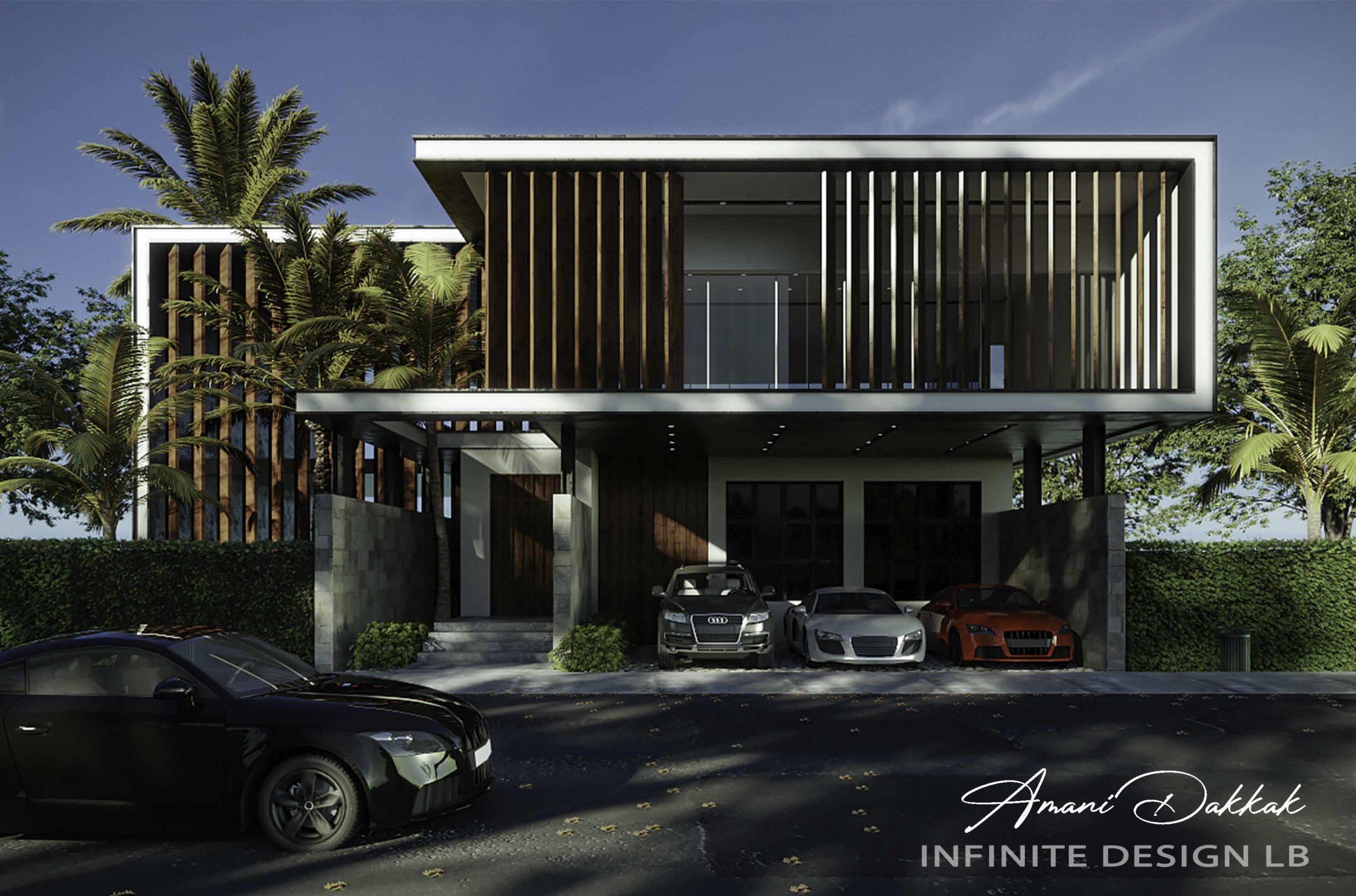 Modern Villa & Parking Exterior Design   Day View