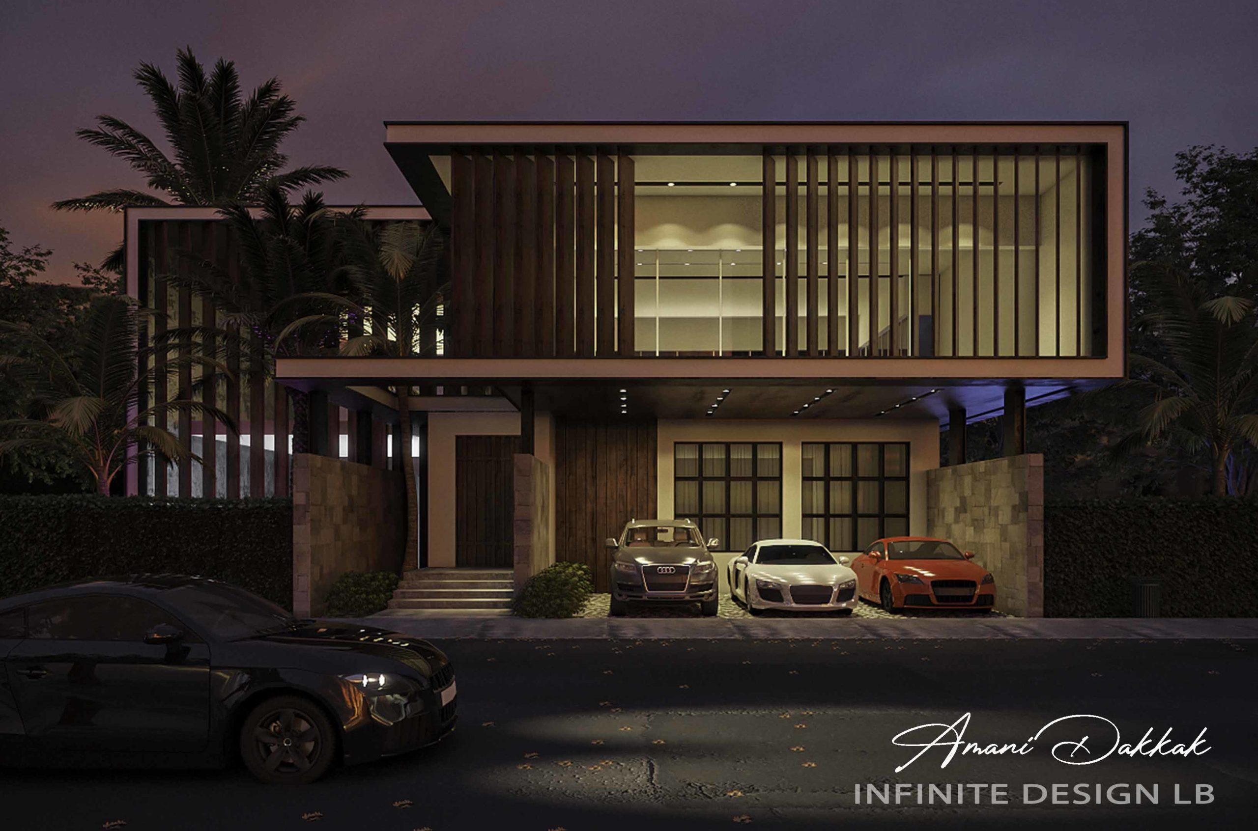 Modern Villa & Parking Exterior Design   Night View